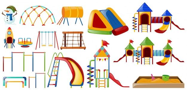 Różne stacje na placu zabaw