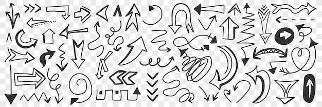 Różne strzałki i wskaźniki doodle zestaw. zbiór ręcznie rysowane znaki strzałki o różnych kierunkach i kształtach na białym tle.