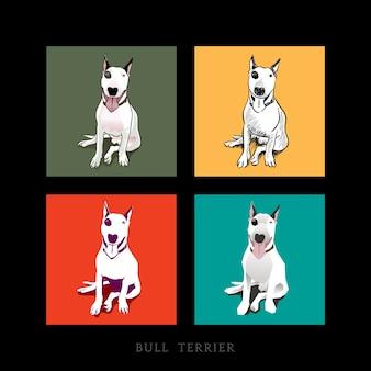 Różne style białego bull terrier siedzi samodzielnie