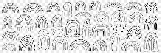 Różne sylwetki tęcze doodle zestaw. kolekcja ręcznie rysowane tęcze na przebiegły z chmurami i deszczem poniżej na białym tle.
