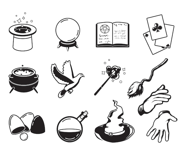 Różne symbole magów, alchemików i czarodziejów. monochromatyczne sylwetki izolują na białym tle. ilustracja magika sztuczka i symbol wydajności