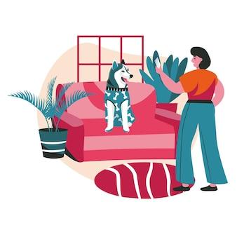 Różne sytuacje w życiu koncepcji sceny zwierząt. kobieta fotografuje swojego psa w ubraniach w domu. opieka nad zwierzętami, zwierzak z właścicielem, zajęcia dla ludzi. ilustracja wektorowa postaci w płaskiej konstrukcji