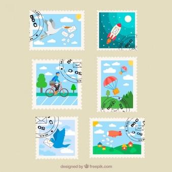 Różne sytuacje znaczki w płaskiej konstrukcji