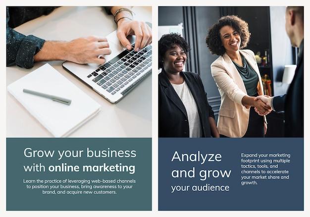 Różne szablony marketingu cyfrowego zestaw plakatów biznesowych
