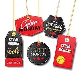 Różne tagi cyber poniedziałek sprzedaż lub etykiety zestaw na białym tle
