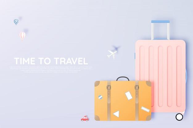 Różne torby i bagaże do podróży w papierowym stylu