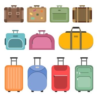 Różne torby z uchwytami i walizki podróżne. kino. zestaw kolorowych walizek i walizek, bagażu i torby na podróż i turystykę. ilustracja