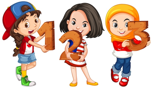 Różne trzy dzieci posiadające numer matematyczny