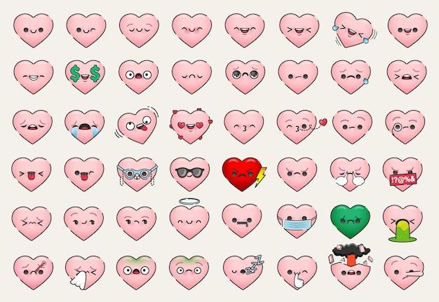 Różne Twarze Emoji Z Płaskim Sercem Premium Wektorów
