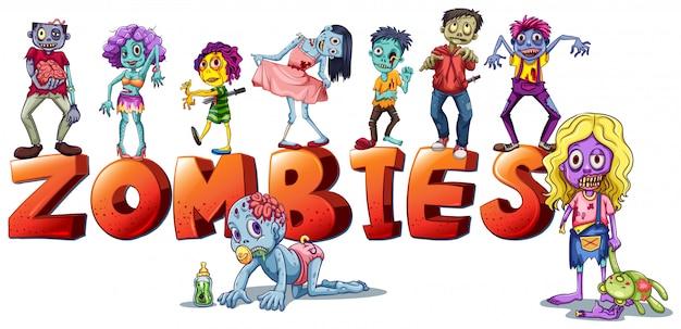 Różne twarze zombie