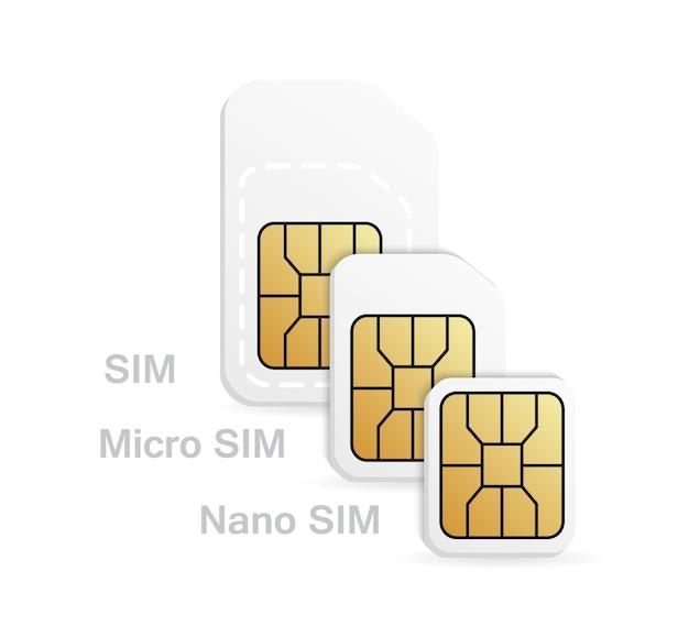 Różne typy kart sim - normalna, mikro, nano.
