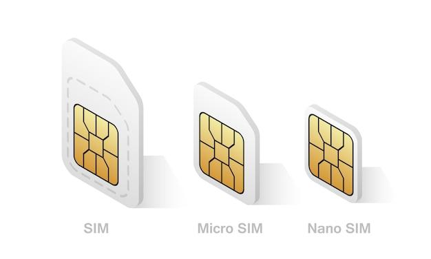 Różne typy kart sim w stylu izometrycznym