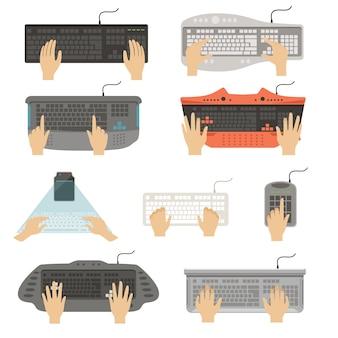 Różne typy konsoli komputera widok z góry ilustracje na białym tle na białym tle