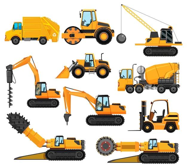 Różne typy pojazdów budowlanych