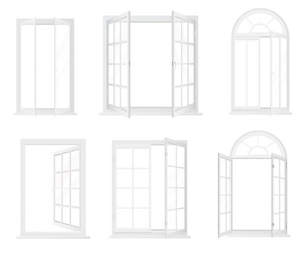 Różne typy realistycznych okien