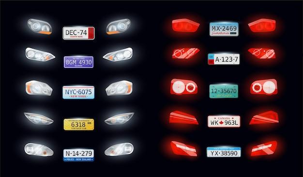 Różne typy samochodów auto reflektory tylne światła tylne tablice rejestracyjne pojazdu realistyczny zestaw