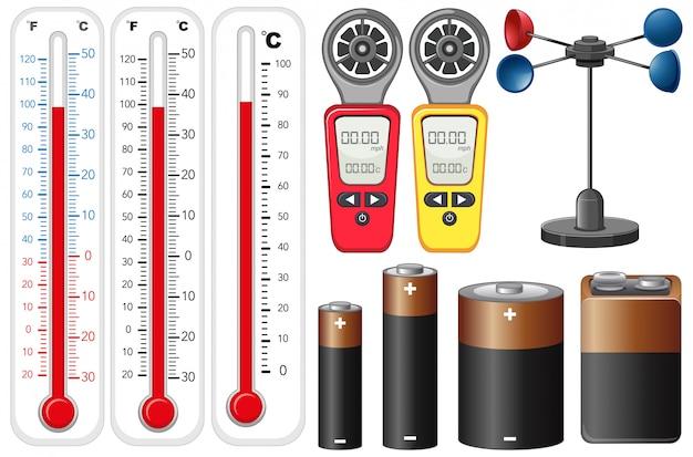Różne typy urządzeń pomiarowych na białym tle