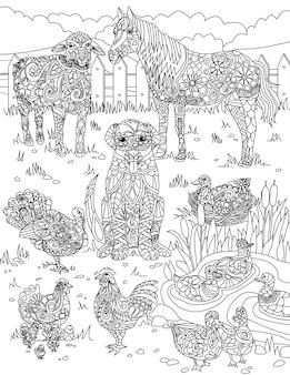 Różne udomowione zwierzęta na trawiastym polu z małym stawem pokrytym ogrodzeniem bezbarwną linią