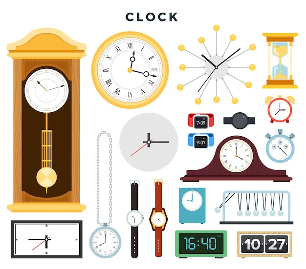 Różne urządzenia do pomiaru czasu na białym tle