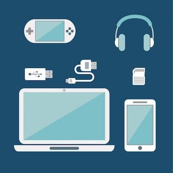 Różne urządzenia na niebieskim tle