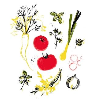 Różne warzywa i zioła do gotowania, ręcznie malowane ilustracja tuszem. niedoskonałe warzywa, lokalnie uprawiane, elementy wystroju rynku rolnego. świeże, dojrzałe czerwone pomidory, por, marchew, liście bazylii.