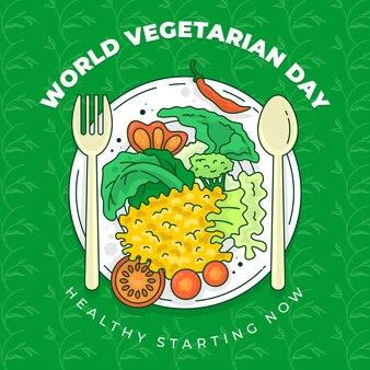 Różne warzywa wektor podawane na talerzu z łyżką i widelcem