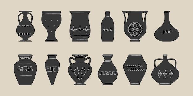 Różne wazony ceramiczne. antyczna, starożytna ceramika. garncarstwo. płaska ilustracja.