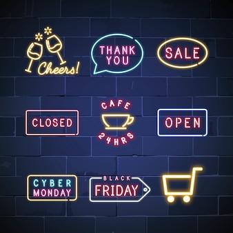 Różne wektor zestaw znaków neon