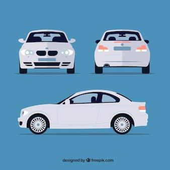 Różne widoki białego samochodu niemieckiego
