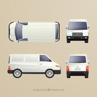 Różne widoki białej furgonetki