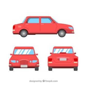 Różne widoki na czerwoną limuzynę