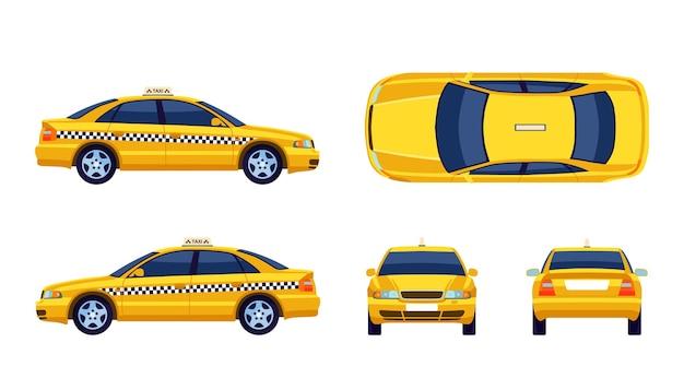 Różne widoki płaskiej kolekcji taksówek żółty samochód