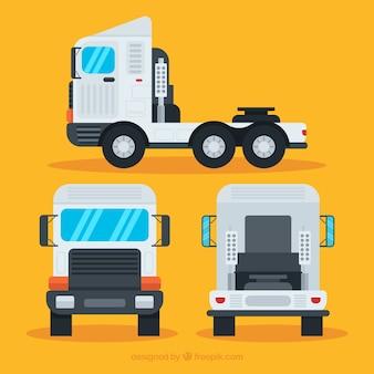 Różne widoki potężnej ciężarówki