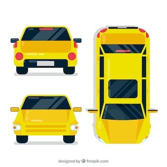 Różne widoki żółtego samochodu