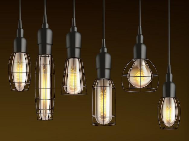 Różne wiszące kształty i rozmiary, vintage żarowe żarówki z ogrzewanym drucikiem z drutu i siatką realistyczny wektor zestaw klatki z drutu. lampa zewnętrzna, oświetlenie garażu i wiata wisząca w ciemności