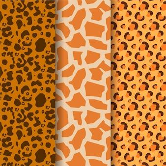 Różne współczesne wzory futra dzikiej przyrody