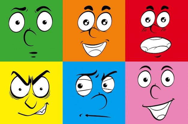 Różne wyrażenia na ludzkich twarzach