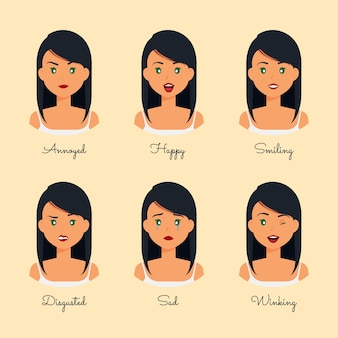 Różne wyrażenie szablon emocji kreskówek