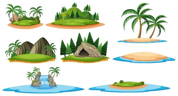 Różne wyspy i sceny leśne