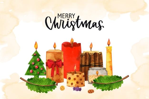 Różne wzory akwarelowych świec świątecznych