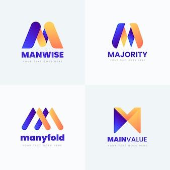 Różne wzory kolekcji logo letter m.