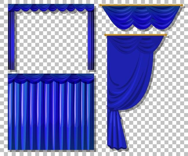 Różne wzory niebieskie zasłony na białym tle