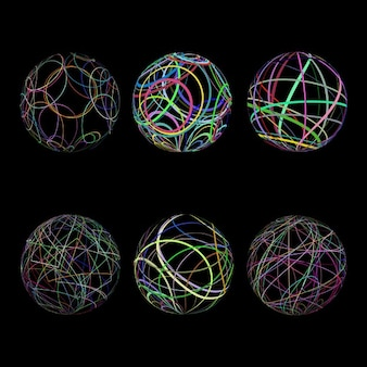 Różne wzory scribble sfer w wielu kolorach