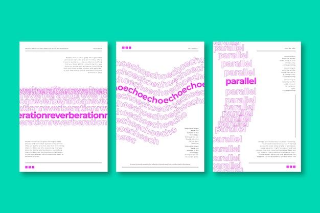 Różne wzory zestawu okładek powtarzających tekst