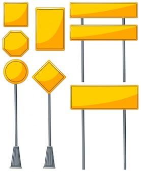 Różne wzory żółtych znaków
