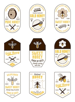 Różne zabytkowe etykiety miodu i elementy projektu