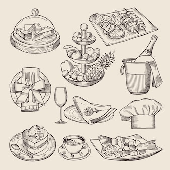 Różne zdjęcia do menu restauracji w stylu retro
