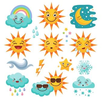 Różne zestaw ikon pogody
