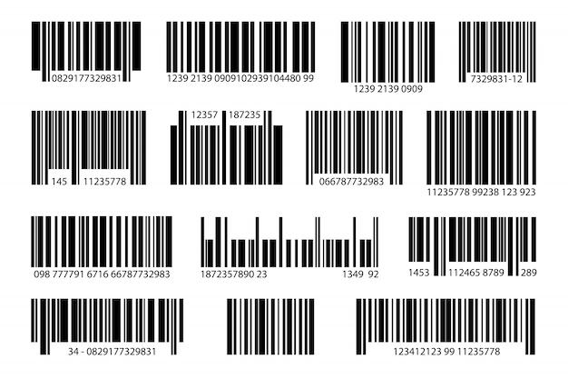 Różne zestawy cyfrowych kodów kreskowych