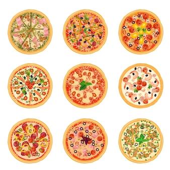 Różne zestawy pizzy do menu